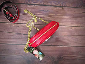 Женская бананка, поясная сумка гучи, Gucci, кроссбоди. Красная / 88103 G, фото 3