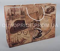 Пакет подарочный большой горизонтальный крафт 36х26х10 см