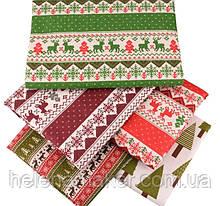 Набор льняной новогодней ткани с зимними узорами. 5 отрезов  20*30 см