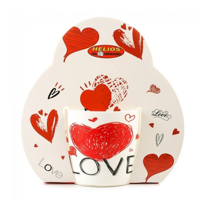 """Чашка декорированная фарфоровая """"Сердце LOVE"""" 320мл"""