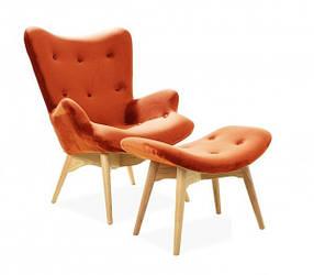 Кресло Флорино с оттоманкой Велюр, Оранжевый (СДМ мебель-ТМ)