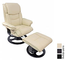 Офисное компьютерное кресло Bonro 5099 массажное с пуфом (офісне комп'ютерне крісло масажне для дома) Бежевый