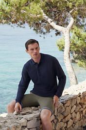 Мужские хлопковые рубашки-поло с длинным рукавом однотонные (63-310-0)