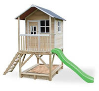 Детский деревянный домик с горкой и песочницей 180 см