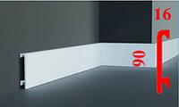 Прямоугольный дизайнерский плинтус с кабель-каналом из дюрополимера 90 мм, 2,0м
