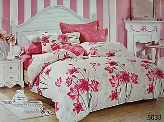 Сатиновое постельное белье семейное ELWAY 5033 «Цветочный орнамент»