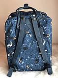 Модный женский рюкзак-сумка канкен синий с рисунками Fjallraven Kanken blue art classic 16 л, фото 3