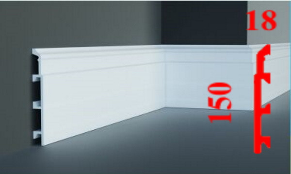 Напольный высокий объёмный плинтус под покраску из дюрополимера 150 мм, 2,0м