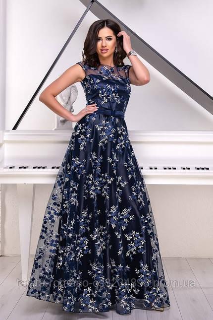 Ніжне плаття на випускний синього кольору