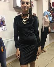 Мини платье бархатное черного цвета