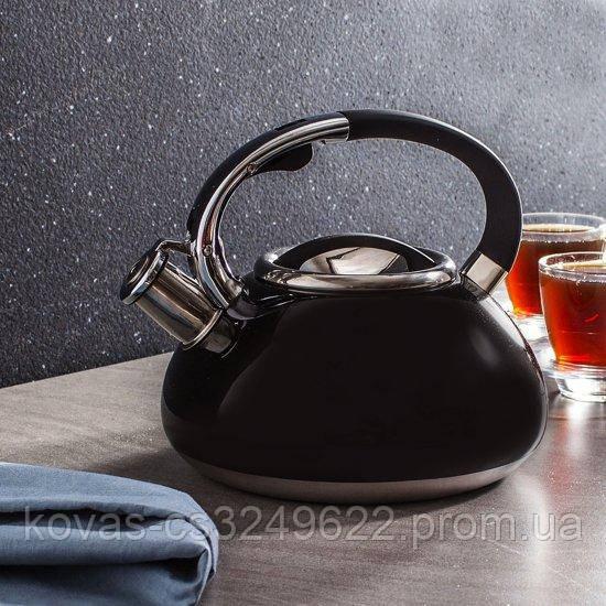 Чайник со свистком EDENBERG 3л, цвета:черный,бордо,бежевый, синий