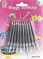 Свечи для торта Серебристые с подставкой (10 штук)