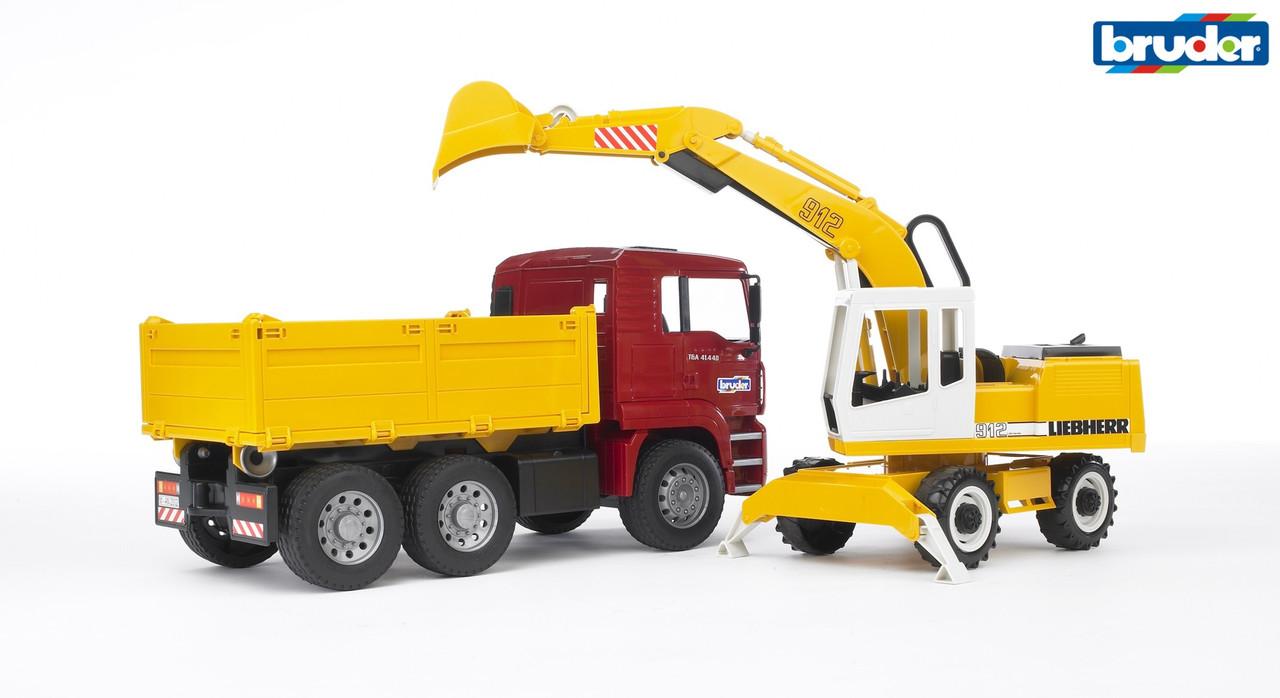 Игрушка - машинка Bruder самосвал-грузовик МАN и экскаватор Liebherr 1:16 Bruder
