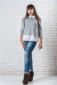 Блузки женские  модные стильные  42-48 светло-серый