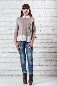 Красивые блузки женские модные  42-48 бежевый