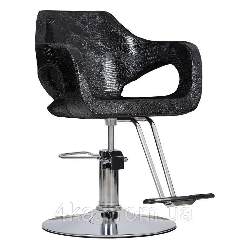 Перукарське крісло BRESSO, чорний  крокодил