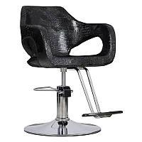 Перукарське крісло BRESSO, чорний  крокодил, фото 1