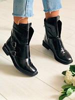 Стильные женские ботинки Деми из натуральной лаковой кожи низкий ход