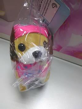 Мягкая игрушка собачка в розовом костюме