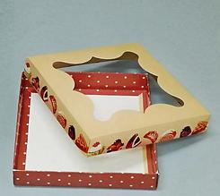 Картонная коробка  для пряников с рисунком  155*155*30 К08