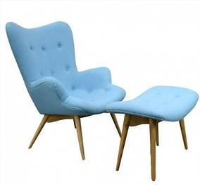 Кресло Флорино с оттоманкой Шерсть, Голубой (СДМ мебель-ТМ)