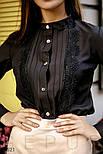 Классическая блуза приталенного кроя с ажурным декором, фото 3