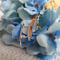 Сережки срібні із золотими вставками та маленькими кубічними цирконами