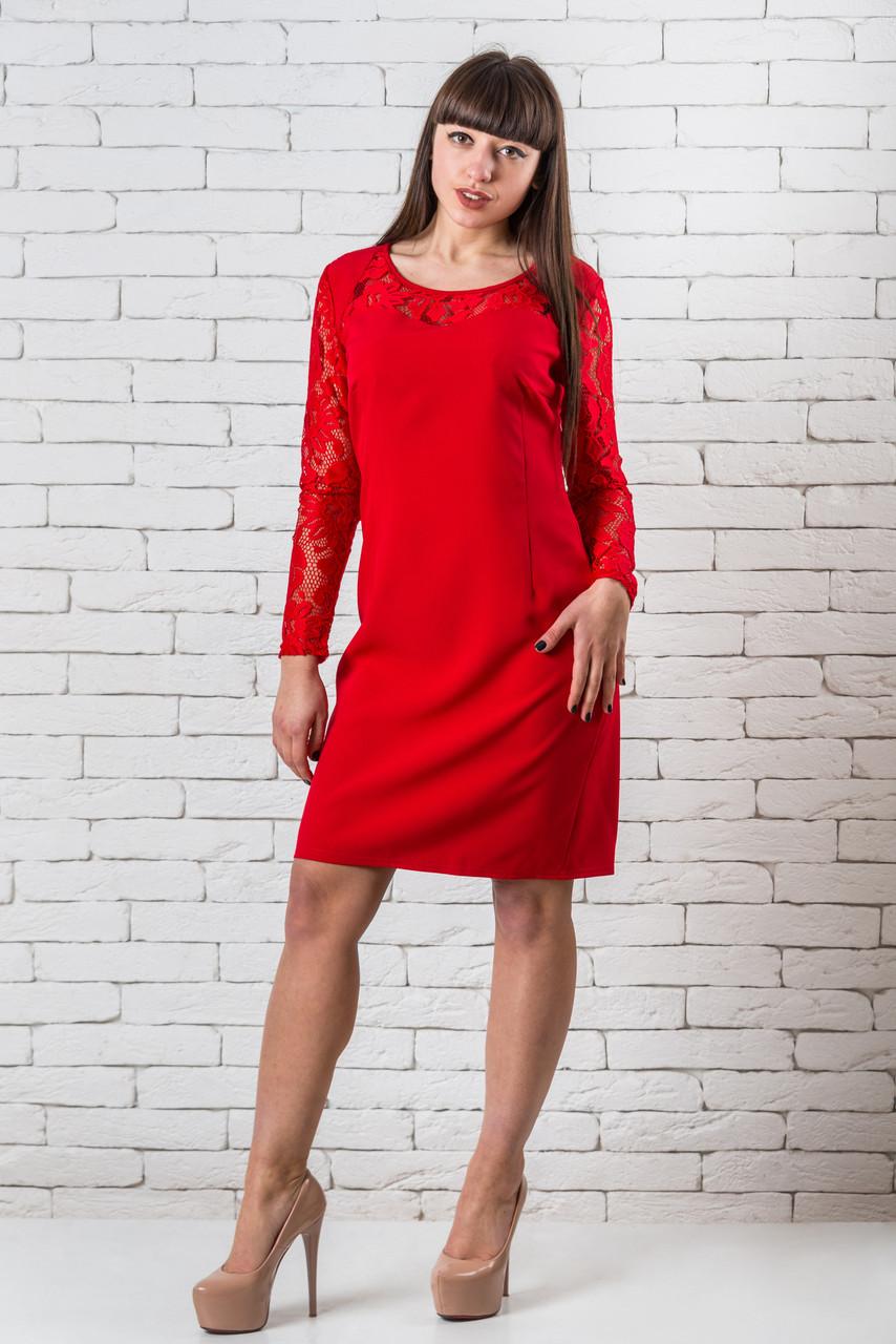 Модное платье женское кружевное красное  44-48 красный