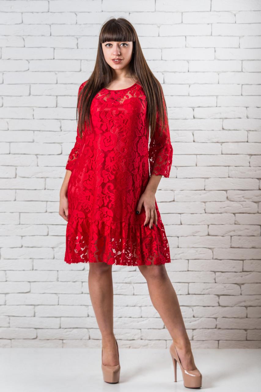 Нарядные платья  женское кружевное красное   S-XS красный