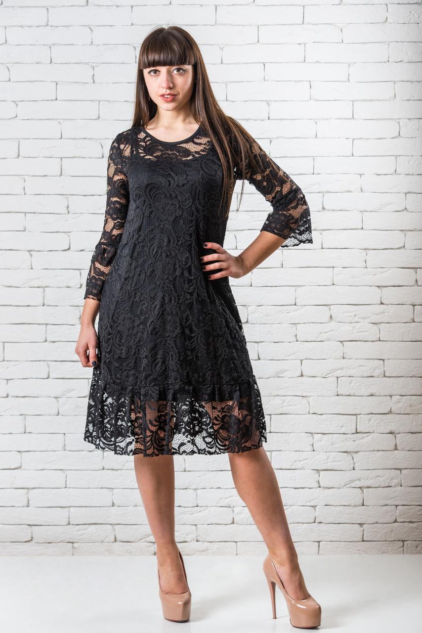 Платье стильное женское кружевное S-XS черный