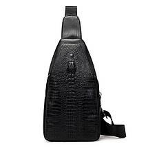 Мужская сумка на одно плечо, слинг Alligator. Черная / 2799, фото 2