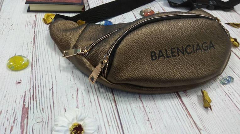 Стильная женская поясная сумочка, бананка Balenciaga, баленсиага. Бронза. Турция., фото 2