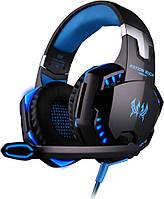 Геймерские наушники Kotion Each G2000 Pro Gaming с подсветкой (Черно-синий)