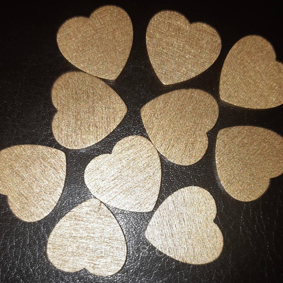 Набор из 10 деревянных сердечек для декора (золото)