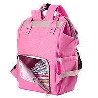 ☛Сумка для мам Maikunitu Mummy Bag Pink рюкзак-органайзер для прогулок вещей бутылочек термокарманы USB, фото 4