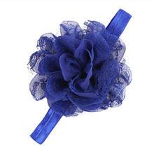 Детская синяя повязка - окружность 40-50см, размер цветка 10-11см
