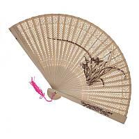 Ручной деревянный веер с цветком (С1057), фото 1