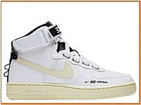 Женские кроссовки Nike Air Force 1 Mid High White Pink (найк аир форс высокие, белые / черные)