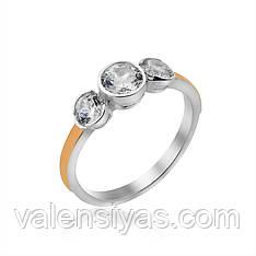 Серебряное изящное кольцо с золотом и камнями