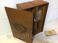 """Бокалы с гравировкой (№7) в деревянной коробке """"Сердце"""" (ореховое дерево), фото 3"""