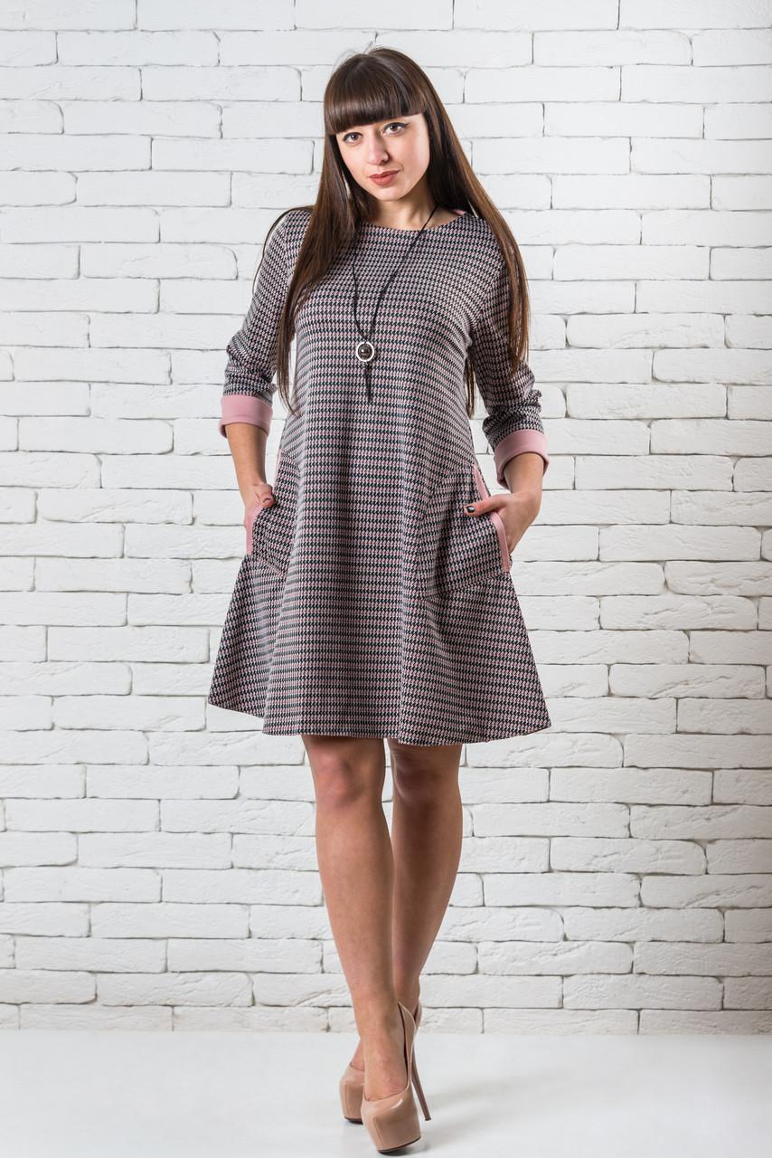 Платье женское 44-50 черно-белая клетка с отделкой цвета «пудра»