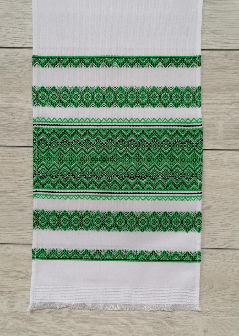 Тканий лляний рушник Волинські візерунки з зеленим орнаментом 150 см