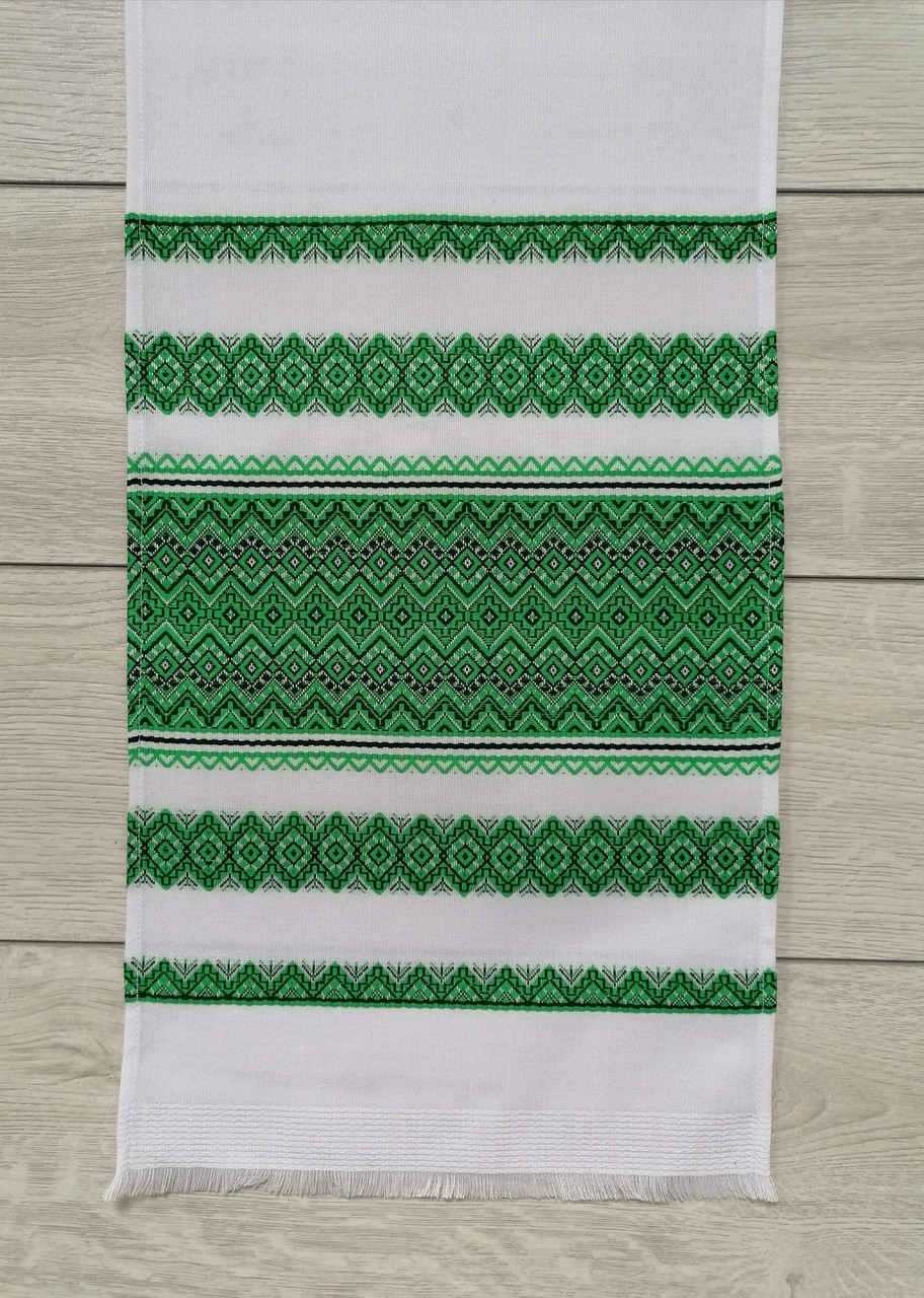 Тканый льняной рушник Волинські візерунки с зеленым орнаментом 150 см