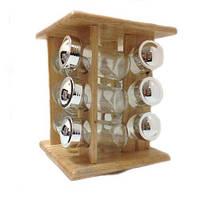 Набор для специй с деревянной подставкой Stenson MS-0375 Classic, 12 предметов