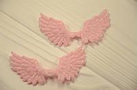 Крылья розовые для заколок и обручей 7*4,3 см.