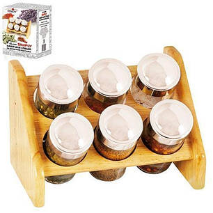 Набор для специй с деревянной подставкой Stenson MS-0368 Simply, 6 предметов, фото 2