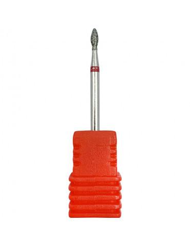 Насадка алмазна полум'я крапля 7 мм, червона (середня насічка)