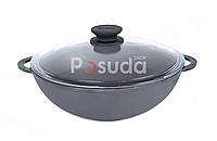 Сковорода чугунная ВОК со стеклянной крышкой Биол 4 л 0528с, фото 1