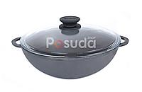 Сковорода чавунна WOK Біол зі скляною кришкою 3 л 0526с, фото 1