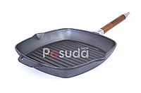 Сковорода-гриль чугунная со съемной ручкой Биол 28 см 1028, фото 1